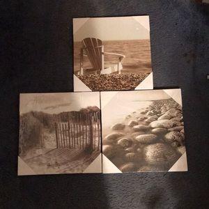 3 Black and white canvas print pics